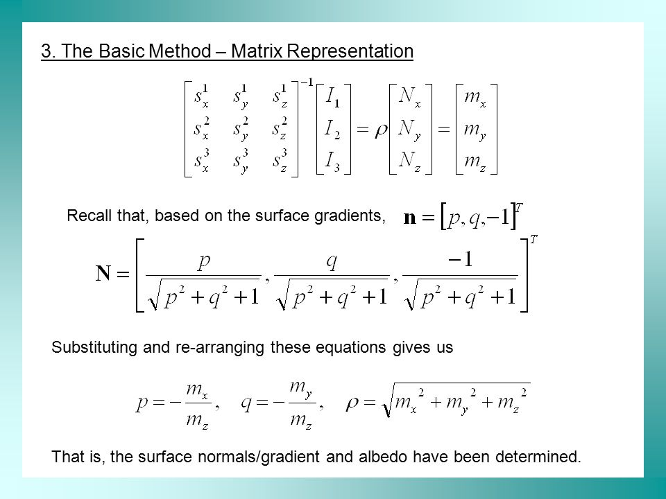 3. The Basic Method – Matrix Representation Substituting and re-arranging these equations gives us That is, the surface normals/gradient and albedo ha