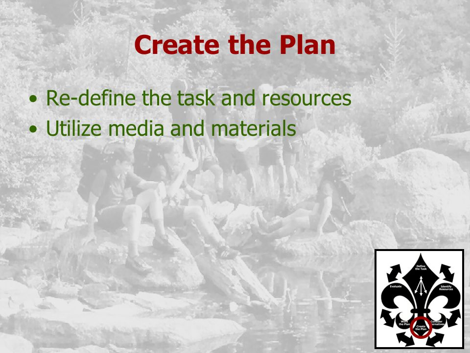 Create the Plan Re-define the task and resources Utilize media and materials
