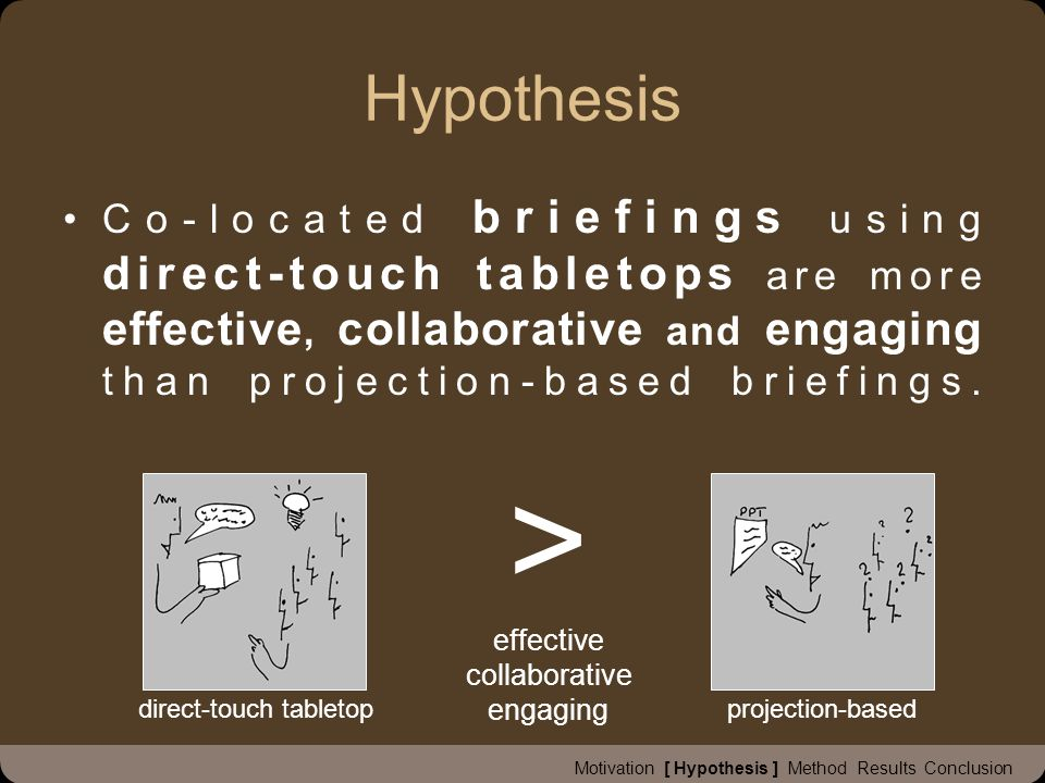 Hypothesis Co-located briefings using direct-touch tabletops are more effective, collaborative and engaging than projection-based briefings.