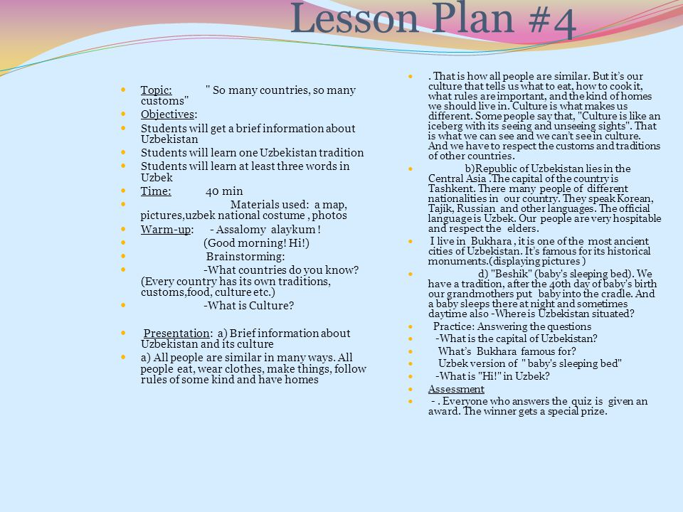 Lesson Plan #4 Topic: