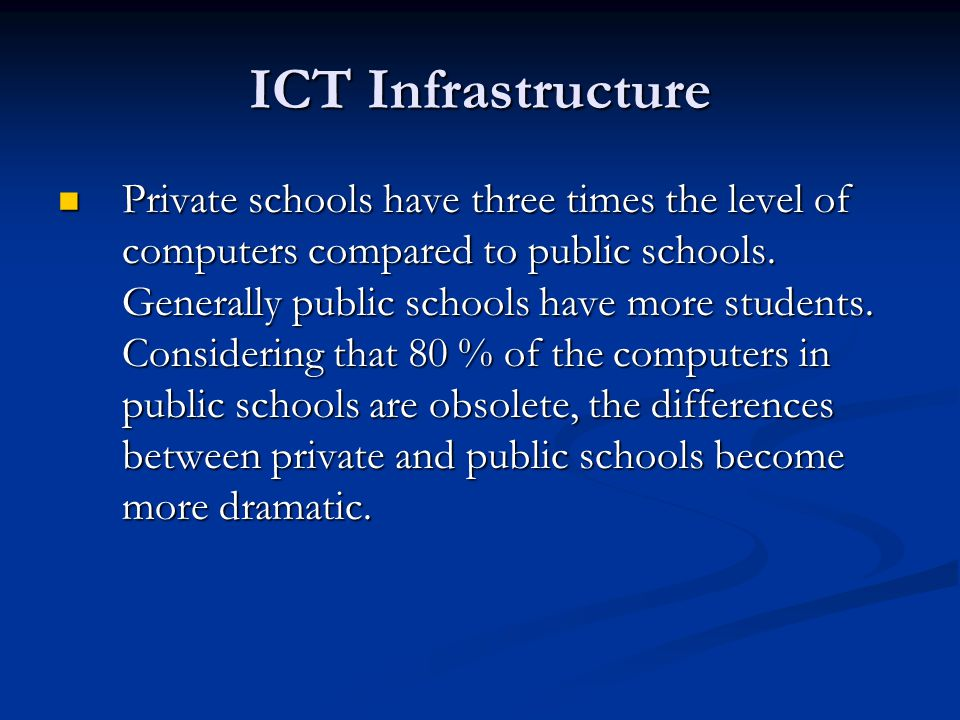 Private schools have three times the level of computers compared to public schools.