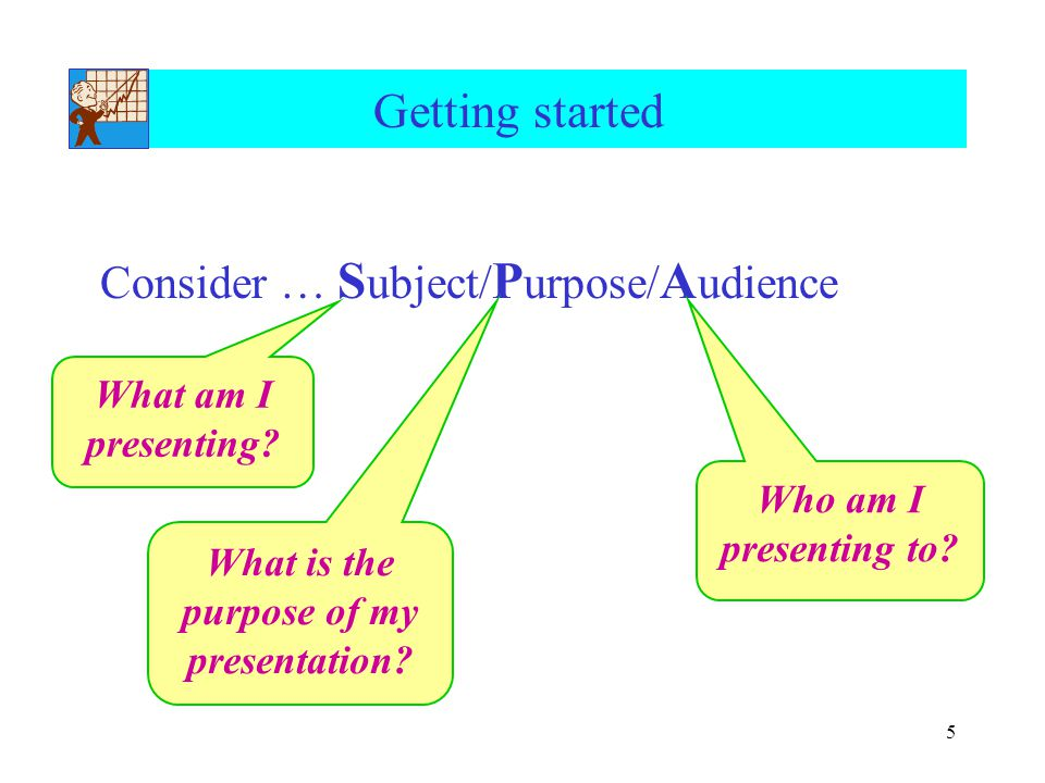 5 Getting started Consider … S ubject/ P urpose/ A udience What am I presenting? What is the purpose of my presentation? Who am I presenting to?