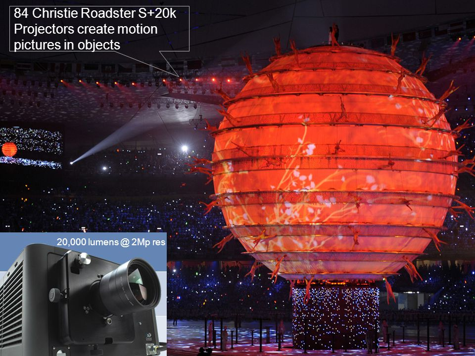 7 84 Christie Roadster S+20k Projectors create motion pictures in objects 20,000 lumens @ 2Mp res