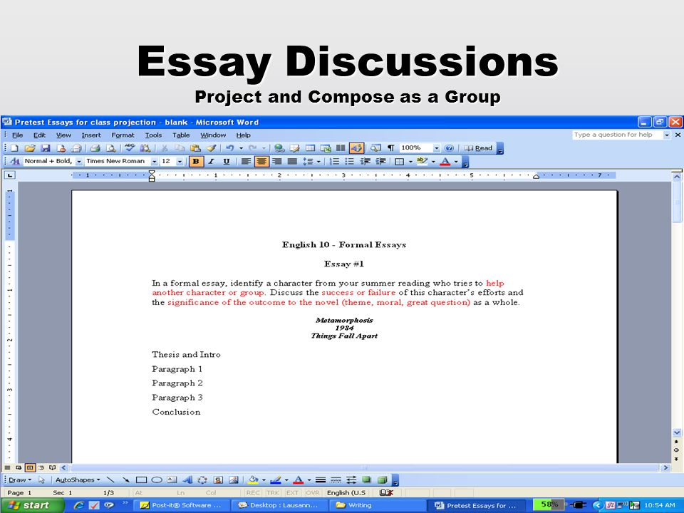 Essay Discussions Project and Compose as a Group