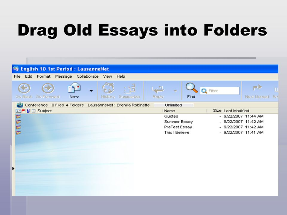 Drag Old Essays into Folders