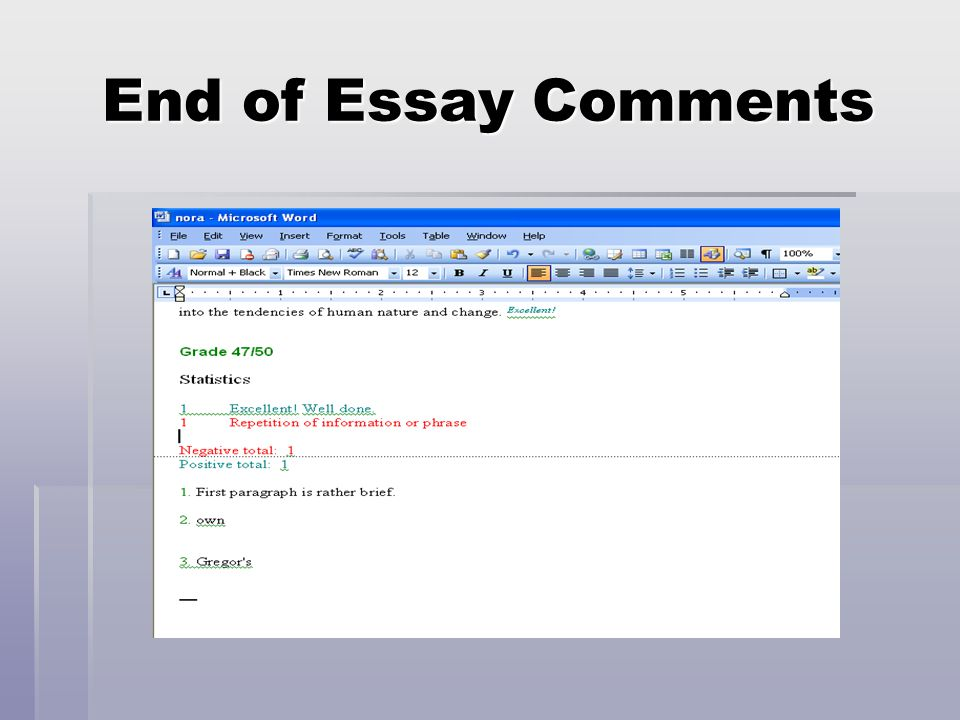 End of Essay Comments