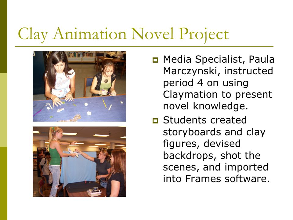 Clay Animation Novel Project  Media Specialist, Paula Marczynski, instructed period 4 on using Claymation to present novel knowledge.