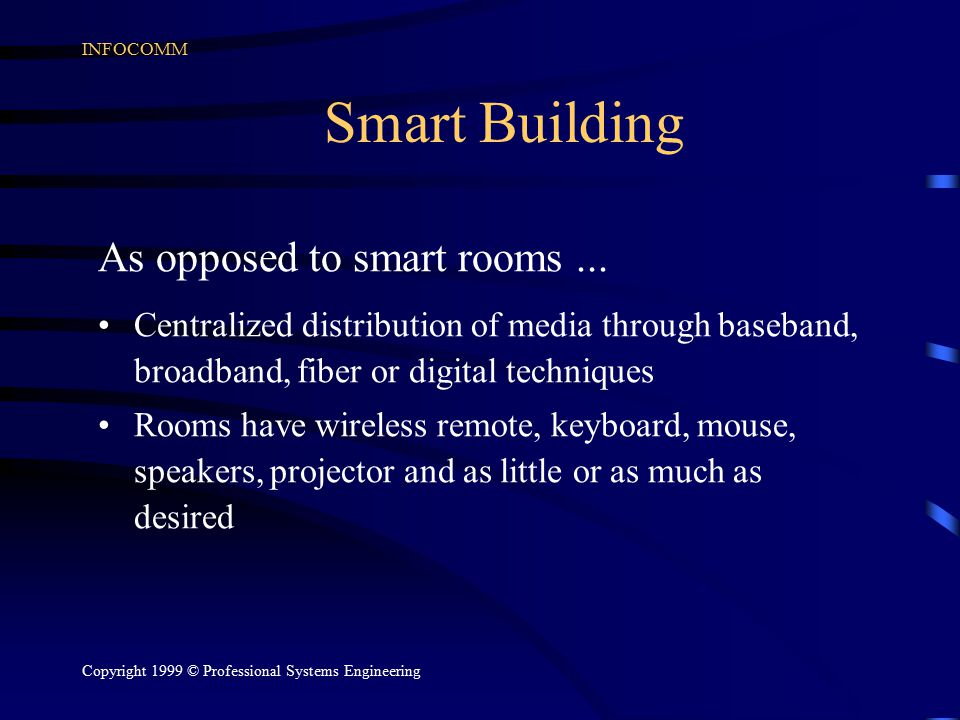 INFOCOMM Copyright 1999 © Professional Systems Engineering Smart Building As opposed to smart rooms...