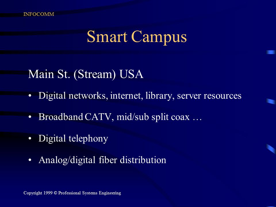 INFOCOMM Copyright 1999 © Professional Systems Engineering Smart Campus Main St. (Stream) USA Digital networks, internet, library, server resources Br