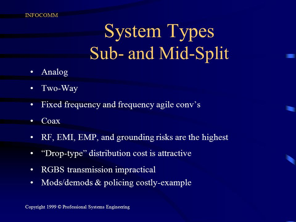 INFOCOMM Copyright 1999 © Professional Systems Engineering System Types Sub- and Mid-Split Analog Two-Way Fixed frequency and frequency agile conv's C