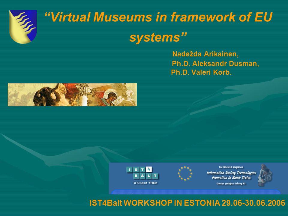 """Virtual Museums in framework of EU systems"" Nadežda Arikainen, Ph.D. Aleksandr Dusman, Ph.D. Valeri Korb. IST4Balt WORKSHOP IN ESTONIA 29.06-30.06.20"