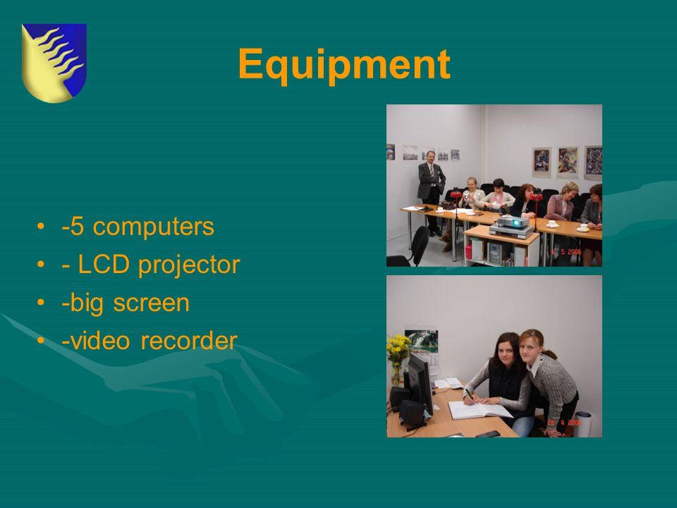 Equipment -5 computers - LCD projector -big screen -video recorder