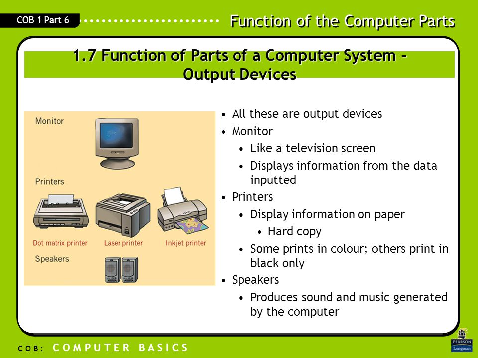 Function of the Computer Parts C O B : C O M P U T E R B A S I C S COB 1 Part 6 All these are output devices Monitor Like a television screen Displays