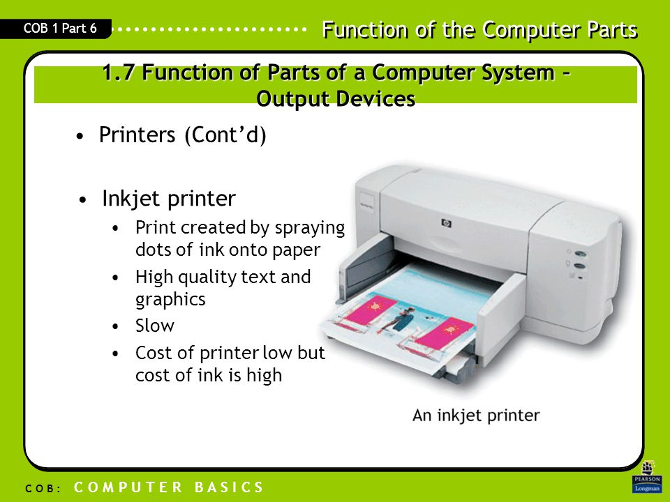 Function of the Computer Parts C O B : C O M P U T E R B A S I C S COB 1 Part 6 Printers (Cont'd) Inkjet printer Print created by spraying dots of ink