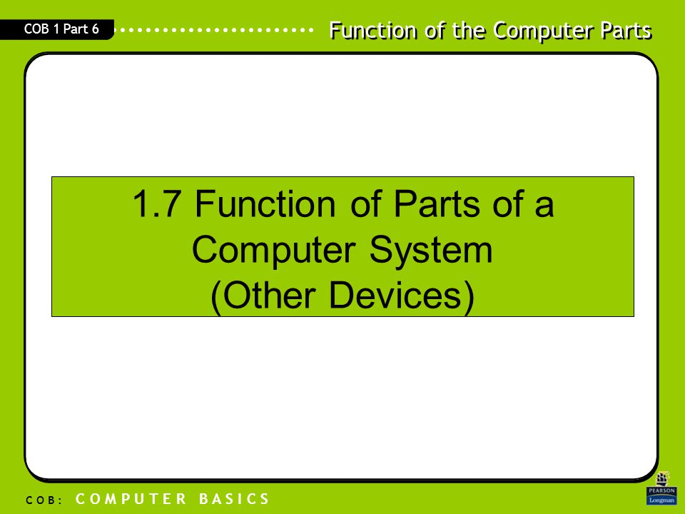 Function of the Computer Parts C O B : C O M P U T E R B A S I C S COB 1 Part 6 1.7 Function of Parts of a Computer System (Other Devices)