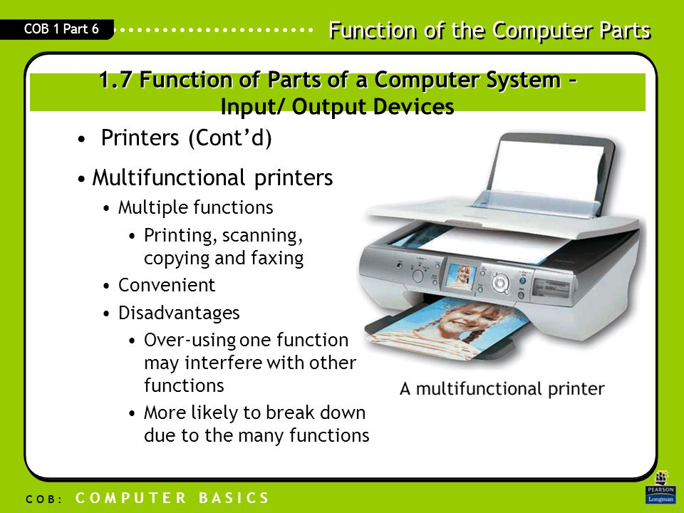 Function of the Computer Parts C O B : C O M P U T E R B A S I C S COB 1 Part 6 1.7 Function of Parts of a Computer System – 1.7 Function of Parts of