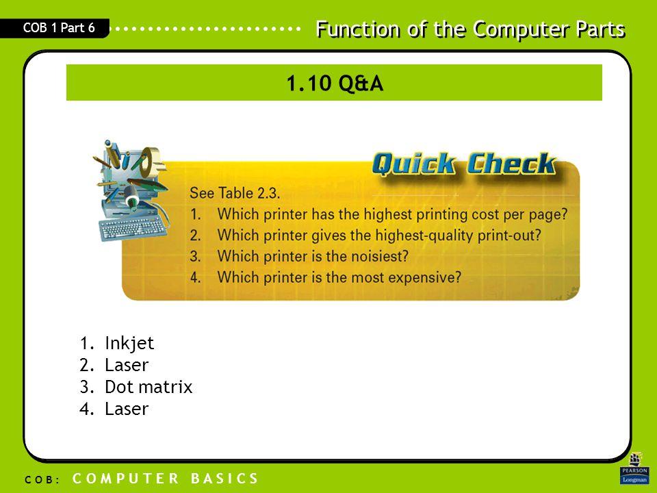 Function of the Computer Parts C O B : C O M P U T E R B A S I C S COB 1 Part 6 1.10 Q&A 1.Inkjet 2.Laser 3.Dot matrix 4.Laser