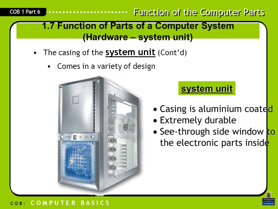 Function of the Computer Parts C O B : C O M P U T E R B A S I C S COB 1 Part 6 system unitThe casing of the system unit (Cont'd) Comes in a variety o