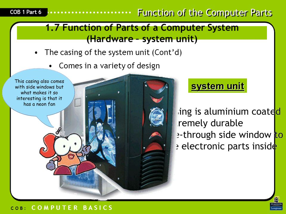 Function of the Computer Parts C O B : C O M P U T E R B A S I C S COB 1 Part 6 –Secondary storage media Stores data and programs permanently Able to store large amount of data 1.7 Function of Parts of a Computer System (Hardware – Memory/ Storage )