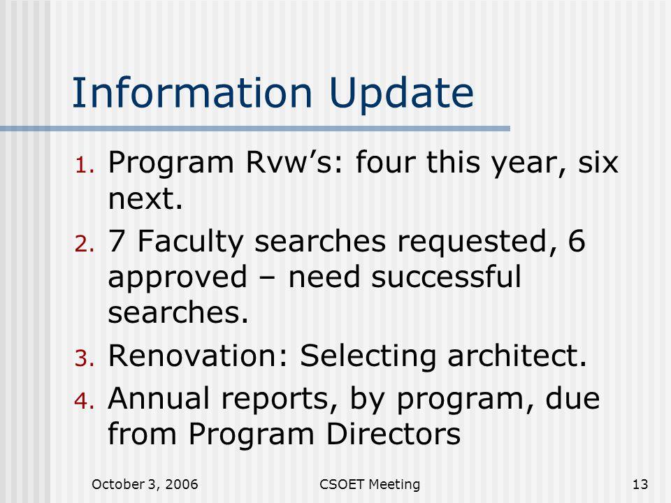 October 3, 2006CSOET Meeting13 Information Update 1.