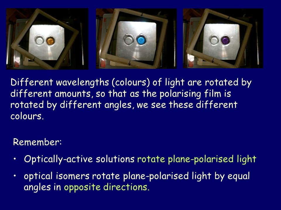 Different wavelengths (colours) of light are rotated by different amounts, so that as the polarising film is rotated by different angles, we see these different colours.