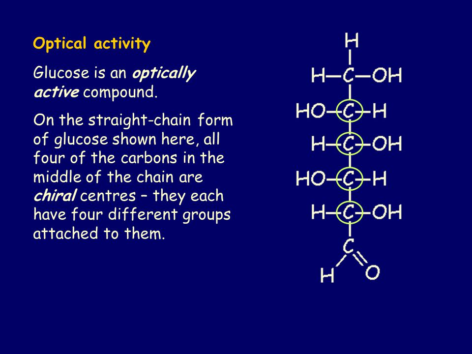 Glucose is an optically active compound.