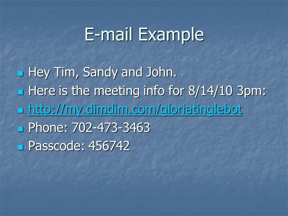 E-mail Example Hey Tim, Sandy and John. Hey Tim, Sandy and John.
