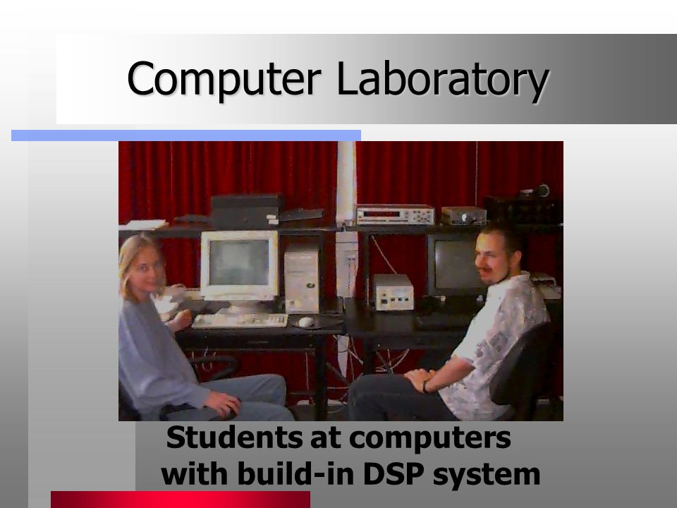 Computer Laboratory Students at computers with build-in DSP system
