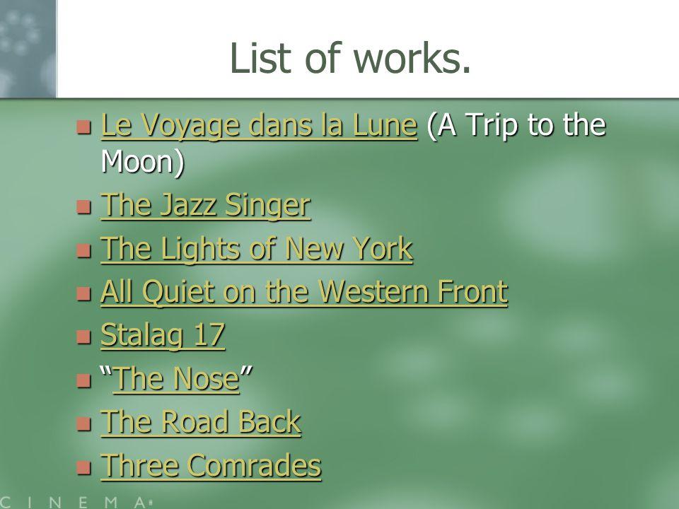 List of works.