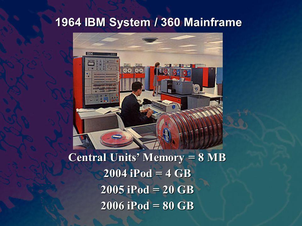 Central Units' Memory = 8 MB 2004 iPod = 4 GB 2005 iPod = 20 GB 2006 iPod = 80 GB 1964 IBM System / 360 Mainframe