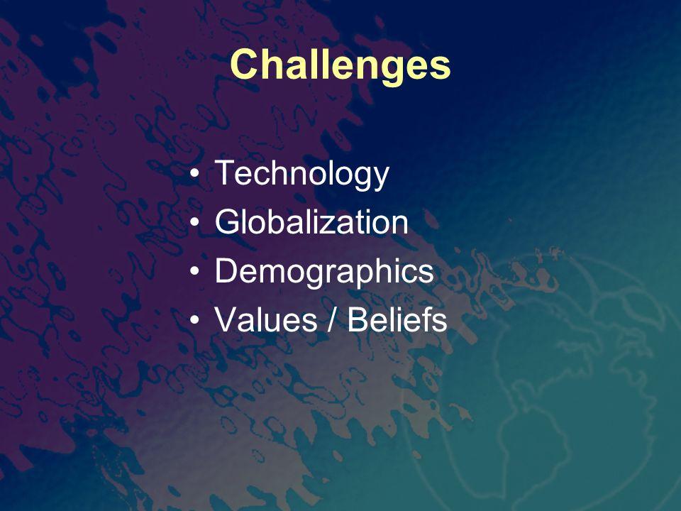 Challenges Technology Globalization Demographics Values / Beliefs