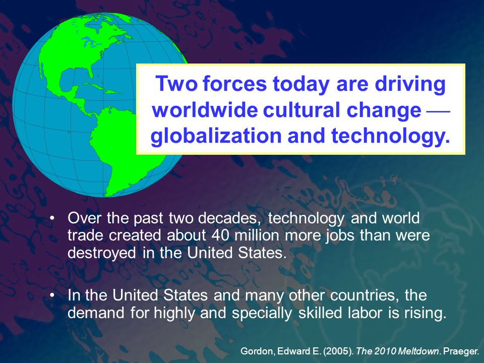 Over the past two decades, technology and world trade created about 40 million more jobs than were destroyed in the United States.