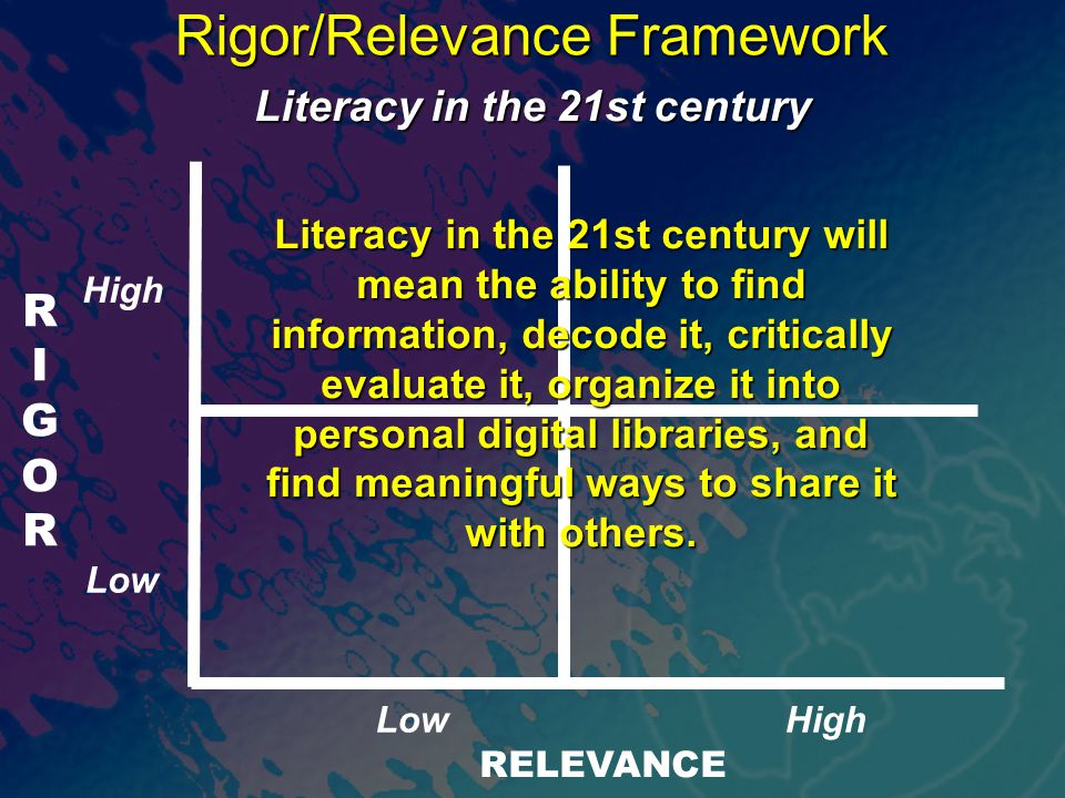 RIGORRIGOR RELEVANCE Rigor/Relevance Framework Literacy in the 21st century Literacy in the 21st century will mean the ability to find information, decode it, critically evaluate it, organize it into personal digital libraries, and find meaningful ways to share it with others.
