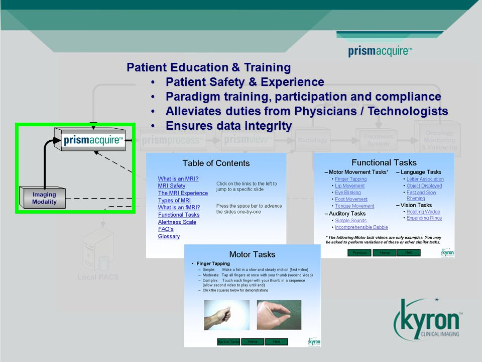 Patient Education & Training Patient Safety & ExperiencePatient Safety & Experience Paradigm training, participation and complianceParadigm training, participation and compliance Alleviates duties from Physicians / TechnologistsAlleviates duties from Physicians / Technologists Ensures data integrityEnsures data integrity