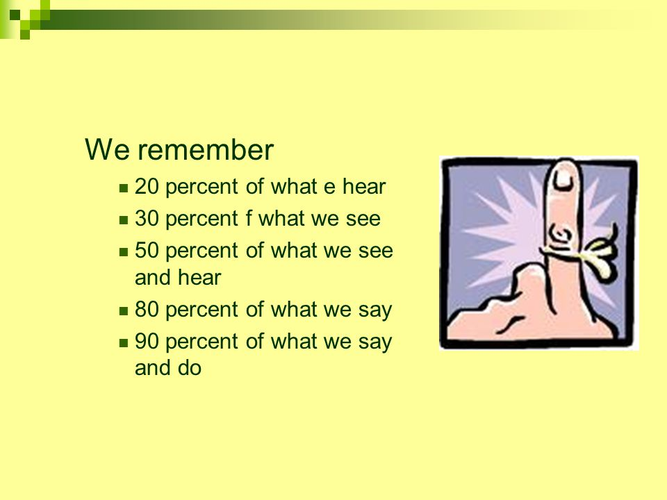 We remember 20 percent of what e hear 30 percent f what we see 50 percent of what we see and hear 80 percent of what we say 90 percent of what we say and do