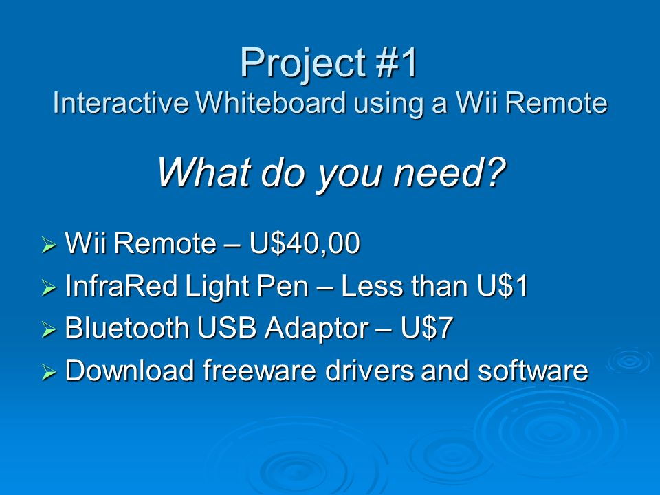 Project usages Interactive Whiteboard  Same as commercial versions of interactive whiteboards such as SmartBoard, HetchBoard, Promethean, etc.