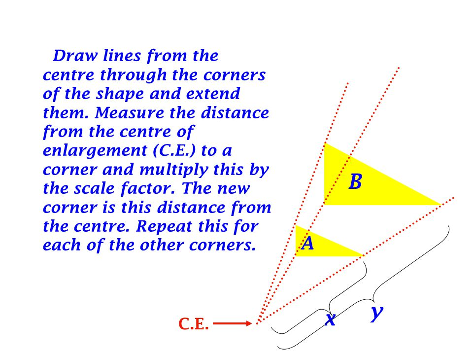 Draw lines from the centre through the corners of the shape and extend them.