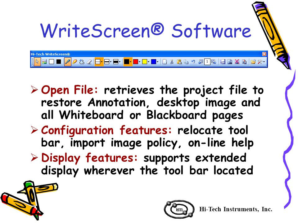 WriteScreen® Software Hi-Tech Instruments, Inc.