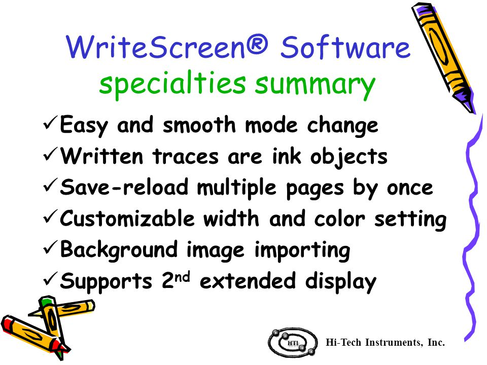 WriteScreen® Software specialties summary Hi-Tech Instruments, Inc.