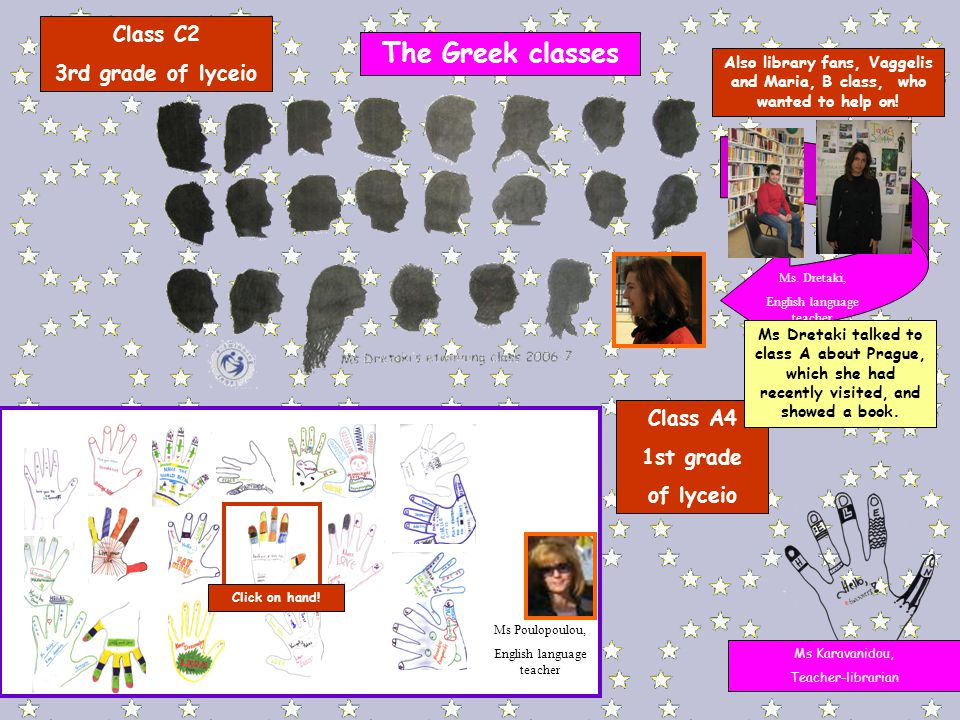 The Greek classes Class C2 3rd grade of lyceio Also library fans, Vaggelis and Maria, B class, who wanted to help on.