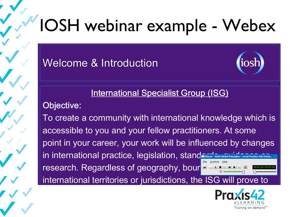 IOSH webinar example - Webex