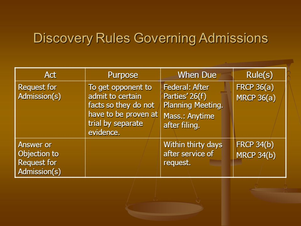 Discovery Rules Governing Admissions ActPurpose When Due Rule(s) Request for Admission(s) To get opponent to admit to certain facts so they do not have to be proven at trial by separate evidence.