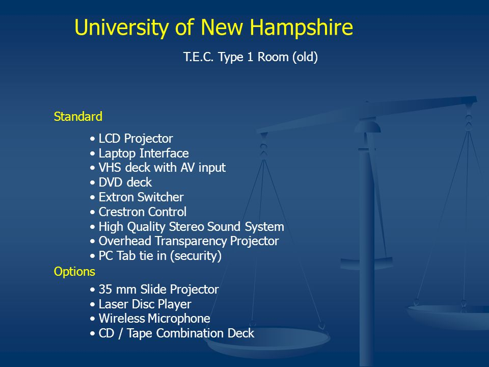 University of New Hampshire T.E.C. Type 1 Room (old) Standard LCD Projector Laptop Interface VHS deck with AV input DVD deck Extron Switcher Crestron