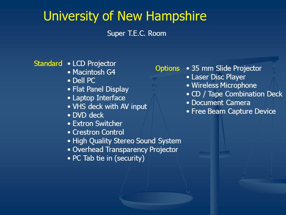 University of New Hampshire Super T.E.C. Room Standard LCD Projector Macintosh G4 Dell PC Flat Panel Display Laptop Interface VHS deck with AV input D