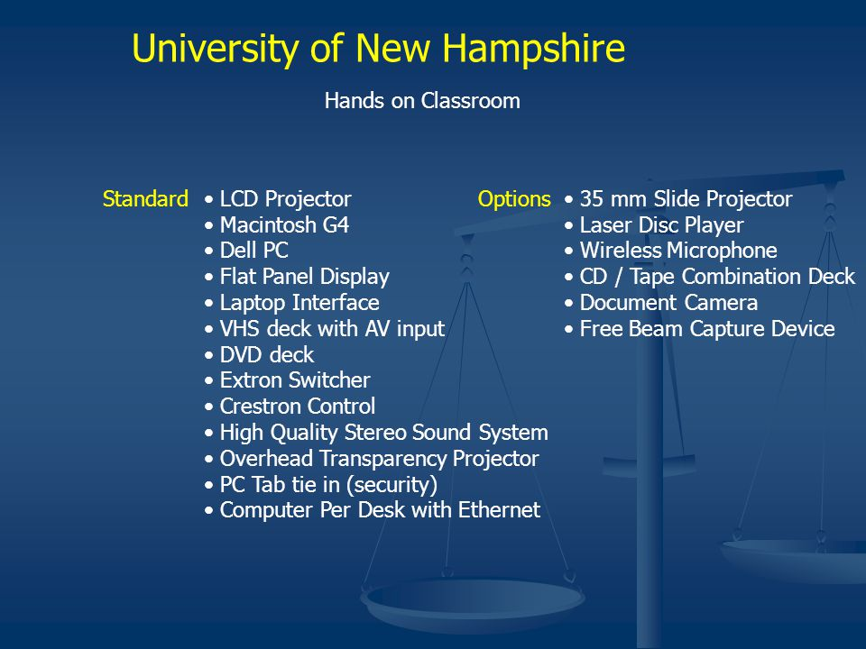 University of New Hampshire Hands on Classroom Standard LCD Projector Macintosh G4 Dell PC Flat Panel Display Laptop Interface VHS deck with AV input DVD deck Extron Switcher Crestron Control High Quality Stereo Sound System Overhead Transparency Projector PC Tab tie in (security) Computer Per Desk with Ethernet Options 35 mm Slide Projector Laser Disc Player Wireless Microphone CD / Tape Combination Deck Document Camera Free Beam Capture Device