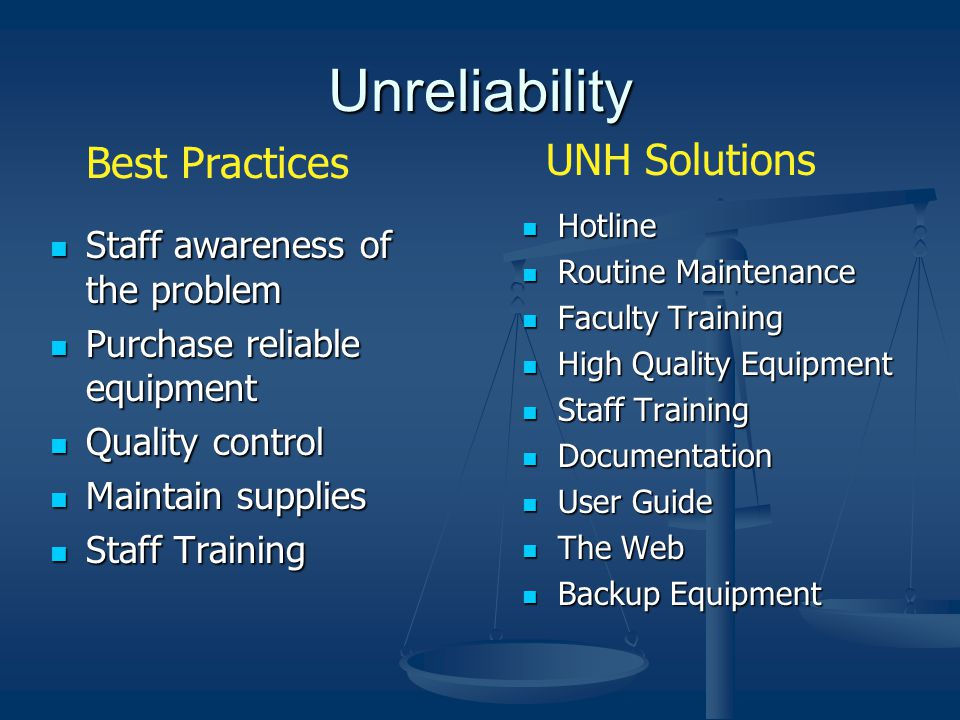 Unreliability Staff awareness of the problem Staff awareness of the problem Purchase reliable equipment Purchase reliable equipment Quality control Quality control Maintain supplies Maintain supplies Staff Training Staff Training Hotline Routine Maintenance Faculty Training High Quality Equipment Staff Training Documentation User Guide The Web Backup Equipment Best Practices UNH Solutions