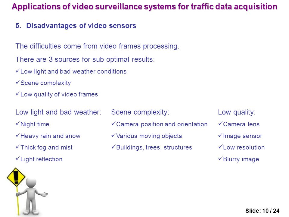 5.Disadvantages of video sensors Slide: 10 / 24 The difficulties come from video frames processing.
