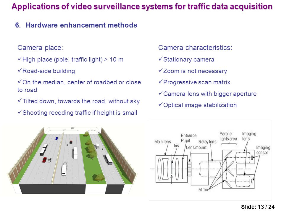 6.Hardware enhancement methods Slide: 13 / 24 Camera place: High place (pole, traffic light) > 10 m Road-side building On the median, center of roadbed or close to road Tilted down, towards the road, without sky Shooting receding traffic if height is small Camera characteristics: Stationary camera Zoom is not necessary Progressive scan matrix Camera lens with bigger aperture Optical image stabilization Applications of video surveillance systems for traffic data acquisition