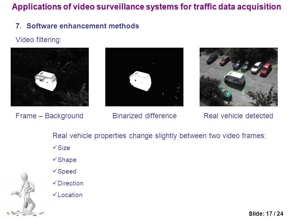 7.Software enhancement methods Slide: 17 / 24 Video filtering: Frame – Background Binarized difference Real vehicle detected Real vehicle properties change slightly between two video frames: Size Shape Speed Direction Location Applications of video surveillance systems for traffic data acquisition