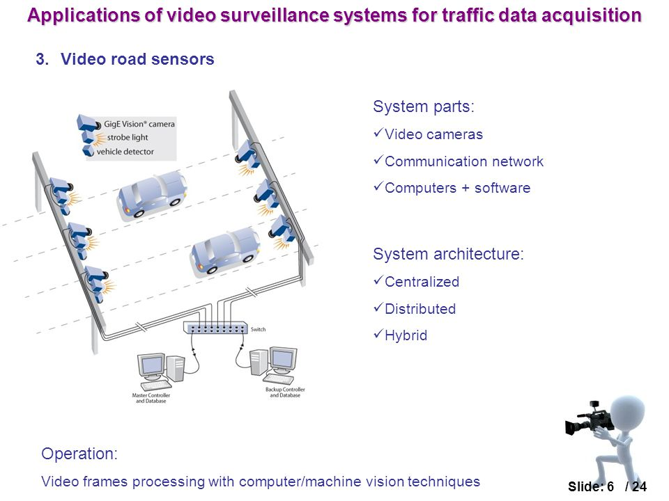 3.Video road sensors Slide: 6 / 24 System architecture: Centralized Distributed Hybrid System parts: Video cameras Communication network Computers + software Operation: Video frames processing with computer/machine vision techniques Applications of video surveillance systems for traffic data acquisition